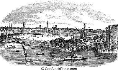 canal, gravure, allemagne, bâtiments, hambourg, vendange