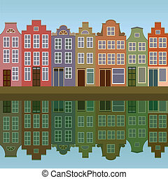 canal, maisons, amsterdam