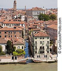 canal, maisons, long, venise