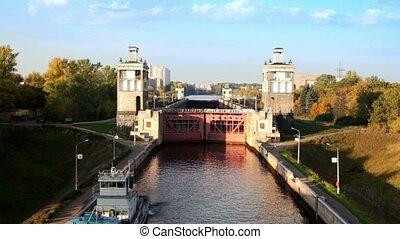 canal, moscou, nombre, écluse, portail, devant, 8, bateau