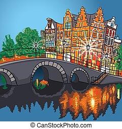 canal, nuit, amsterdam, vue, vecteur, ville, pont