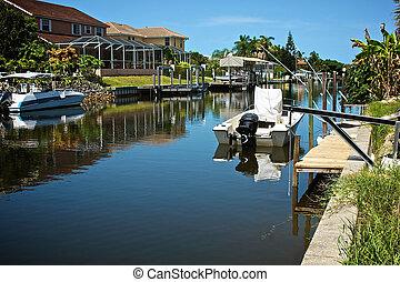 canal, résidentiel, floride
