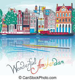 canal, vecteur, amsterdam, typique