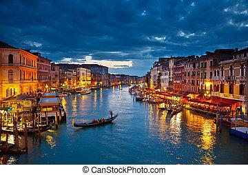 canal, venise, nuit, grandiose