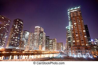 canal, ville, chicago, en ville, horizon, intérieur, voie navigable