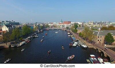 canal, vue, amsterdam, au-dessus
