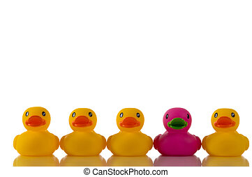 canard, pourpre, rose, jaune, canards, caoutchouc