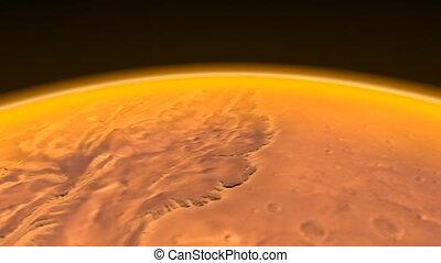 canaux, mars, cg., hd, flight.