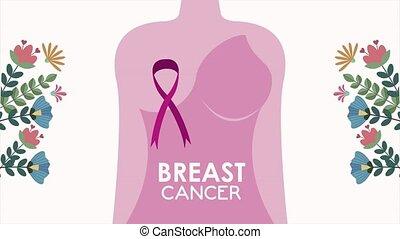 cancer, animation, poitrine, femme, conscience, ruban, corps