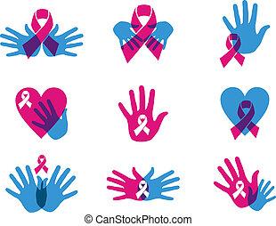 cancer, ensemble, ruban, conscience, poitrine