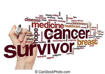cancer, mot, survivant, nuage