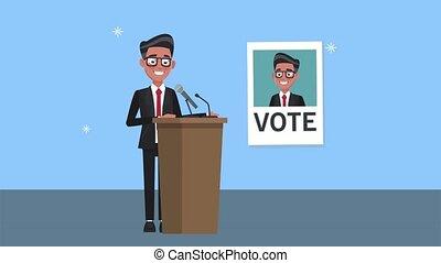 candidat, affiche, podium, mâle, parler