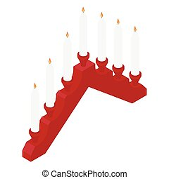 candlestick., rouges, venue, blanc, décoration, brûlé, bougies
