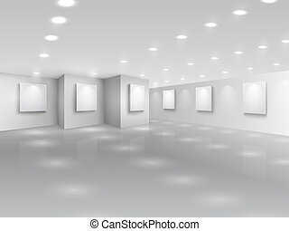 canevas, galerie, réaliste, vide, blanc, salle