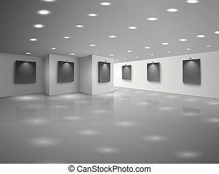 canevas, noir, vide, intérieur, blanc, salle, vide