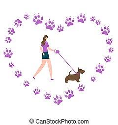 canin, chien, pistes, vecteur, gens, promenade, actif