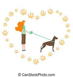 canin, gens, promenade, pistes, actif, vecteur, chien