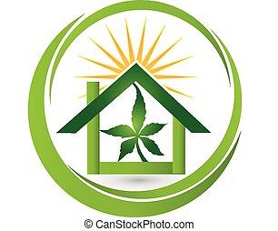 cannabis, logo, plante, feuille, maison