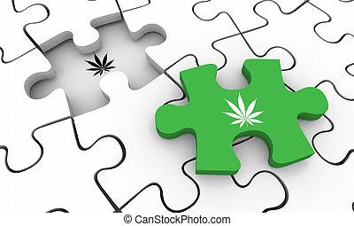 cannabis, pot, puzzle, marijuana, illustration, mauvaise herbe, résolu, morceau, final, 3d
