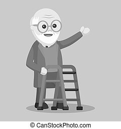 canne marche, vieil homme