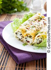 cannelloni, plaque, blanc, ricotta, épinards