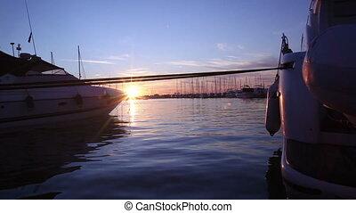 canon, coucher soleil, bateaux, baie, mkll