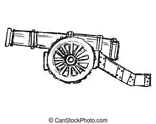 canon, vecteur, antiquité, croquis