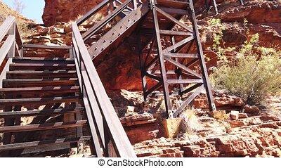 canyon, rois, escalier, bois