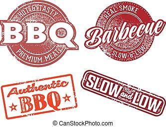 caoutchouc, barbecue, vendange, barbecue, timbre