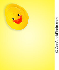 caoutchouc, fond jaune, canard