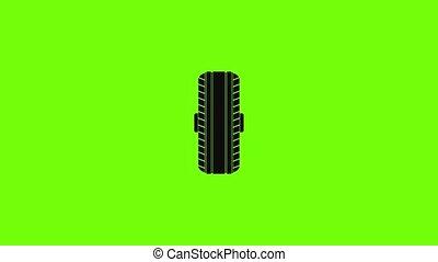 caoutchouc, icône, animation, pneu