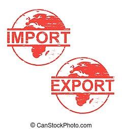 caoutchouc, importation, timbres, exportation