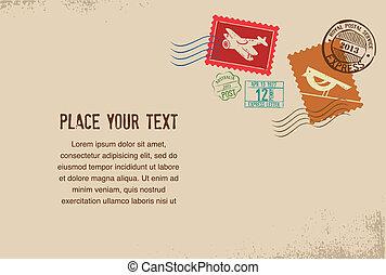 caoutchouc, vendange, timbres, vecteur, enveloppe