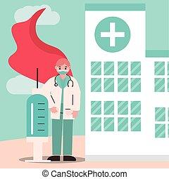 cap, médecin, héros, docteur, masque, seringue, stéthoscope, protecteur