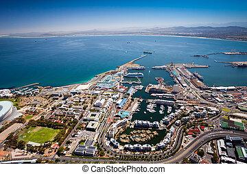 cap, vue, aérien, ville, port