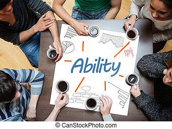 capacité, écrit, affiche, dr