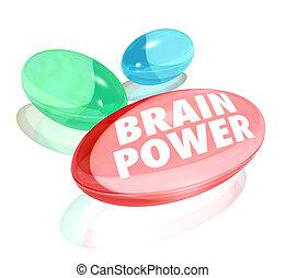 capacité, pilules, capsules, vitamines, puissance, intelligence, ou, cerveau, supplément, mots, mémoire, naturel, alternative, illustrer, poussée, ton, mental