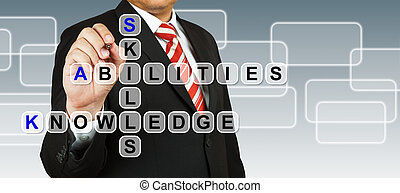 capacités, homme affaires, rédaction, connaissance, compétence