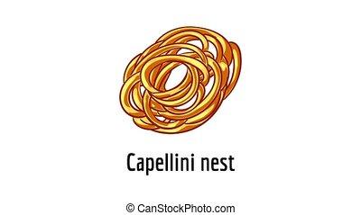 capellini, icône, animation, nid