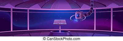 capitaine, cabine, vaisseau spatial, centre, contrôle, intérieur