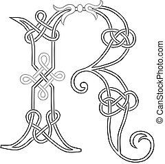 capital, celtique, lettre, knot-work, r