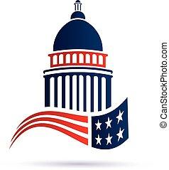 capitole, vecteur, flag., conception, logo, américain, bâtiment