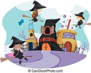 capricieux, école, magicien, stickman, gosses