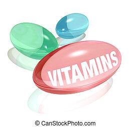 capsule, blanc, mot, vitamines, fond