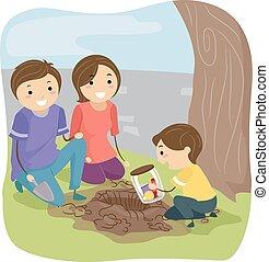 capsule, stickman, temps famille