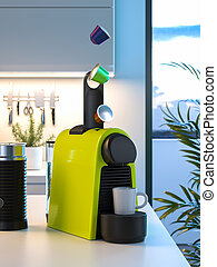 capsules, processus, confection, express, début, moderne, café, 3d, tomber, rendre, frais, machine., kitchen.