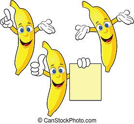 caractère, banane, dessin animé