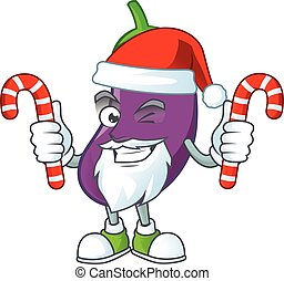 caractère, bonbon, dessin animé, santa, aubergine, claus