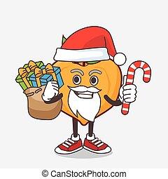 caractère, bonbon, santa costume, eggfruit, mascotte, dessin animé