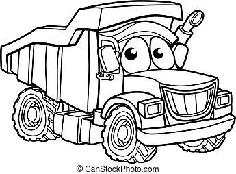 caractère, camion, dessin animé, décharge